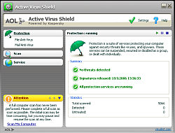 Active Virus Shield - antivirus zadarmo od AOL a Kaspersky Lab