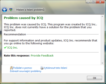 Windows Vista, ICQ Error, problém